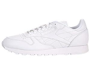 Reebok J90117 Mens Classic Leather Running Shoes, White/White/White - 12
