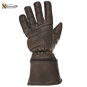 Xelement Driving Retro Mens Brown Leather Gauntlet Motorcycle Gloves - Large