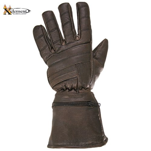 Xelement Driving Retro Mens Brown Leather Gauntlet Motorcycle Gloves - Large 2