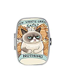 buy Funny Grumpy Cat Lemon Life Quote Custom Fashion Style Stainless Steel Rectangle Pill Box Pill Case Vitamins Organizer Or Jewelry Box,Coin Purse