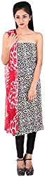 Bee Gee Boutique Women's Synthetic Unstitched Dress Materials (BG-13, Black, White)