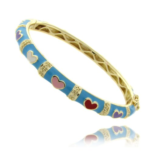Lily Nily 18k Gold Overlay Turquoise Enamel Multi Colored Heart Design Children's Bangle