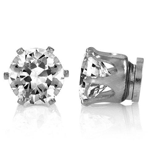 Jamal'S Round Cut Cz Magnetic Earrings - 6Mm front-619357