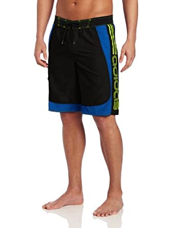 Adidas Men's Swimwear Brand A Volley Swim Trunks, Black/Blue, Small