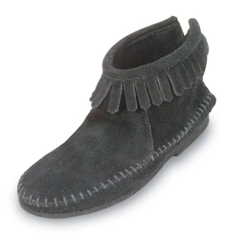 Minnetonka Women's Moccasins Back Zipper Boot Black Size 8.5