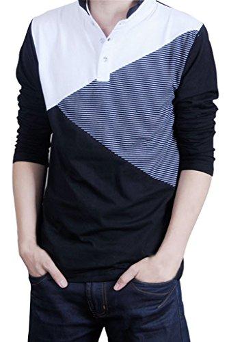 Shirt Raglan manica lunga Henley uomo Gillbro, nero, XL