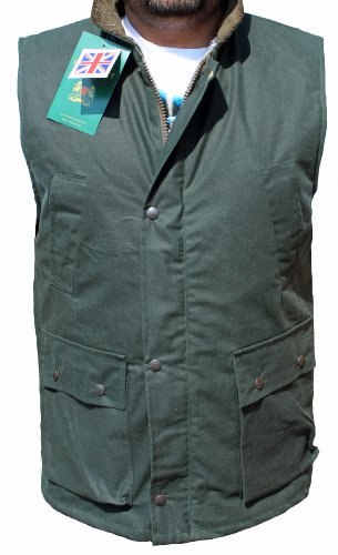 WWK NEW WAX GILET OUTDOOR BODYWARMER OILED WAISTCOAT JACKET HUNTING FISHING (3XL, Olive Green)