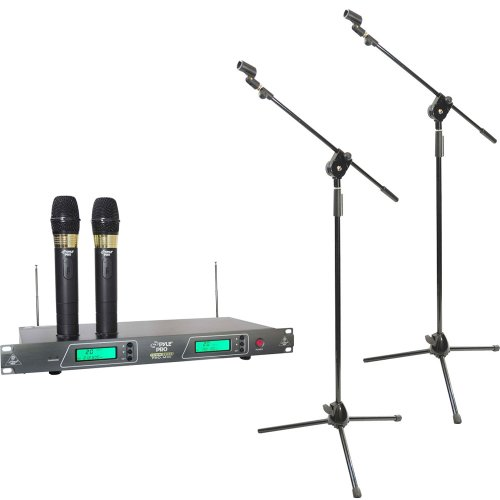 Pyle Dual Mic And Stand Package - Pdwm2550 19'' Rack Mount Dual Vhf Wireless Rechargeable Handheld Microphone System - 2X Pmks3 Pair Of Tripod Microphone Stands W/ Extending Boom