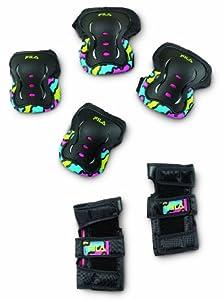Fila Ensemble de protection genoux/poignets/coudes pour fille multicolore Multicolore - Noir/rose XS