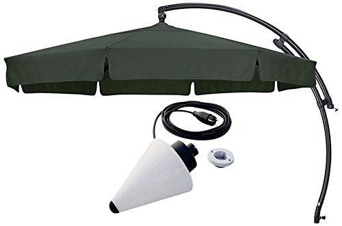 Sun Garden Ampelschirm Easy Plus Durchmesser 350 cm, Bezug 100% Polyester grün, Aluminiumgestell anthrazit