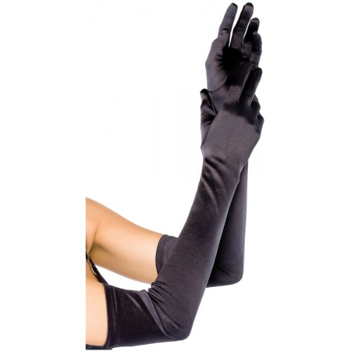 Extra Long Satin Gloves Adult Accessory Black - One Size