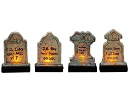 Lemax Spooky Town Illuminated Tomb Stones Set of 4 # 74586
