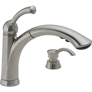 Best Delta 16926 Sssd Dst Lewiston Single Handle Pull Out Kitchen Faucet In Best Price