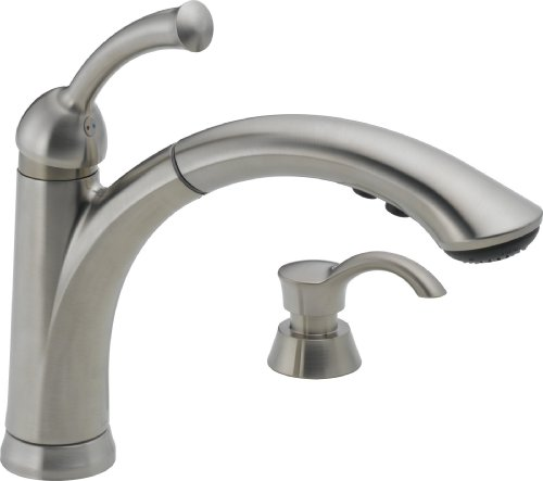 Best Price For Delta 16926 Sssd Dst Lewiston Single Handle Pull Out Kitchen Faucet With Soap
