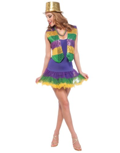 Adult Womens Mardi Gras Party Girl Tutu Short Skirt Costume Accessory