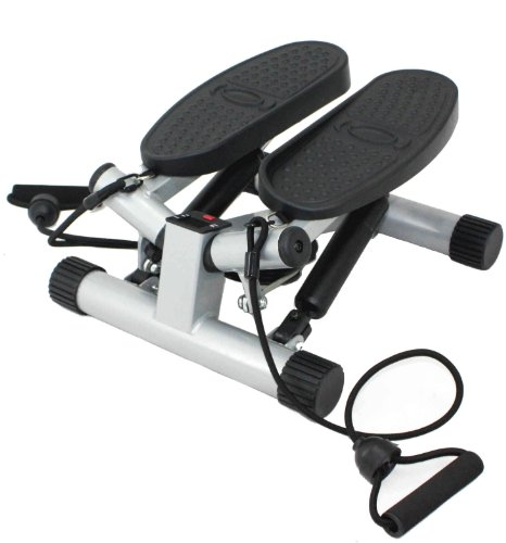 Lowest Prices! Sunny Health & Fitness Twisting Stair Stepper with Band, Silver