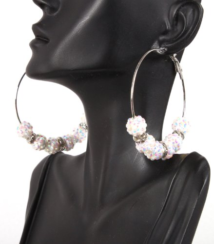Basketball Wives White 2.5 Inch Hoop Earrings with Six 10mm Shamballah Balls and Rondelle Spacers Lady Gaga Paparazzi Mob Wives
