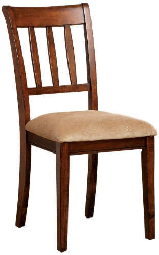 Furniture of America Stoney Upholstered Wooden Side Chair, Brown Cherry, Set of 2
