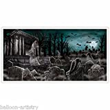 Gothic Halloween DEAD END CEMETERY Graveyard Party Wall Poster Banner Decoration