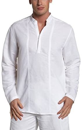Cubavera Men S Long Sleeve Popover Shirt Bright White
