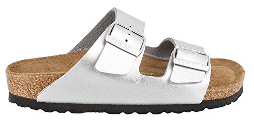 Birkenstock Unisex Arizona  Soft Footbed Sandal,Silver,39 Eu/8 N Us