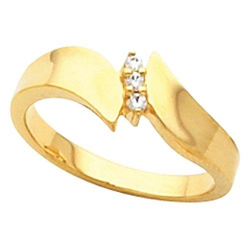 10K Yellow Gold Diamond Ring - 0.05 Ct. - Size 6.5