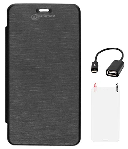 DMG Flip cover for Micromax Unite 2 A106 (Black) + Matte Screen + USB OTG Cable