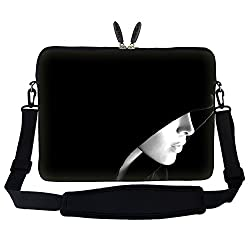 Meffort Inc 15 15.6 inch Neoprene Laptop Sleeve Bag Carrying Case with Hidden Handle and Adjustable Shoulder Strap - Lady in the Hood Design