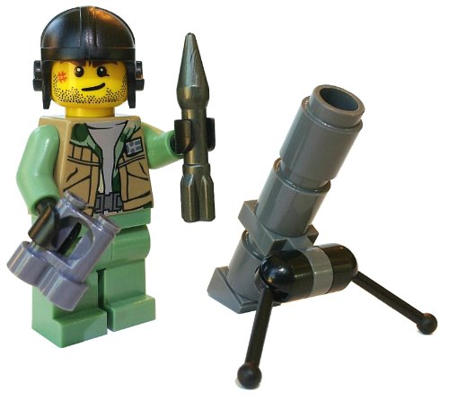 Mortar Cannon Soldier And Storage Crate (World War U.S. Army) - Ark Combat Minifigure