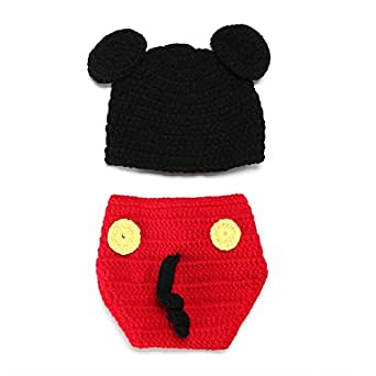 Elee Baby Handmade Crochet Photo Prop Costume Hat Diaper Mouse