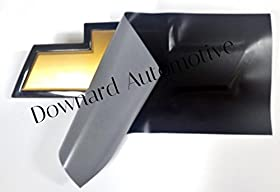 """Black Matte vinyl Decal (overlay) You Cut Chevy Emblem overlays from (2) 11"""" x 4"""" Universal Rectangular Sheets - Wrapping Instructions Included - Customize your Silverado Camaro Cruze Equinox etc."""