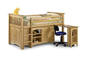 Pine Mid Sleeper Storage Bed - Kids 3Ft Single Sleepstation with a Desk and 4 Drawers