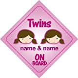 Twins Girls On Board Personalised Car Sign New Baby Girl / Child Gift / Present