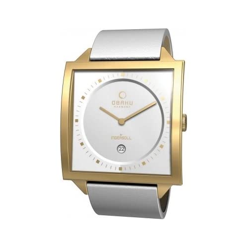 Obaku-By-Ingersoll-Unisex-Gold-Case-White-Leather-Strap-Watch