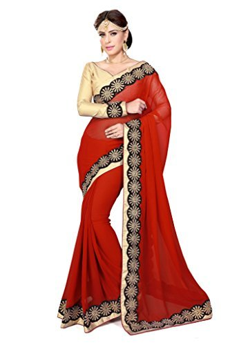 Sourbh Sarees Women's Red Faux Georgette Lace Work Saree with Unstitched Blouse Piece