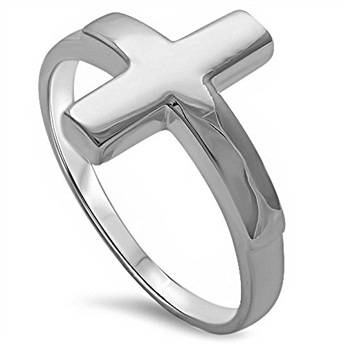Solid Silver Sideways Cross .925 Sterling Silver Ring Sizes 3-13