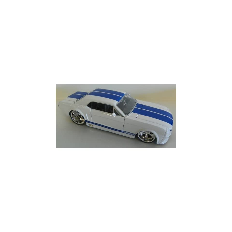 Jada Toys 1/24 Scale Diecast Big Time Muscle 1965 Ford Mustang Gt in Color White with Blue Stripes