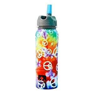 Nathan Stainless Steel 700ml Flip Straw Bottle (Tie Dye Peace Sign)
