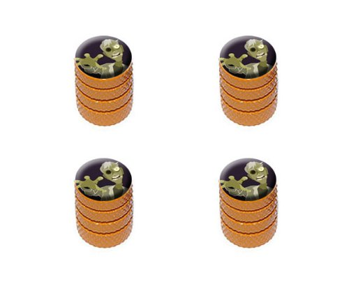 Cartoon Zombie Reach - Undead Brains Tire Rim Wheel Aluminum Valve Stem Caps - Orange Color