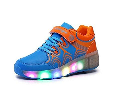 Led Heelys Kinder Schuhe Mit Rollen 7 Farbe Light Up Leather Shoes Luminous cuir Sneakers für Junge Mädchen Herren Damen Blau 38