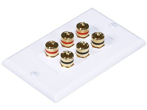 Monoprice 103538 High Quality Banana Binding Post Two-Piece Inset Wall Plate For 3 Speakers