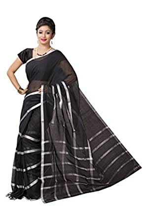 ISHIN Cotton Silk Black Saree available at Amazon for Rs.3899