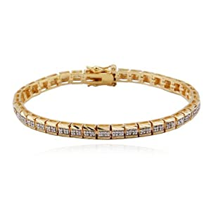 18k Yellow Gold Plated Sterling Silver Genuine Diamond Channel Set Bracelet, 6.5
