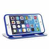 for iPhone 6 Case Cover,Nancy's Shop iPhone 6 (4.7) leather,iPhone 6 leather case,iPhone 6 leather,Two Windows Design leather with stand case cover for iPhone 6 (4.7) (2014)(Blue-Apple Iphone 6 4.7 Nancy's Shop Case cover)