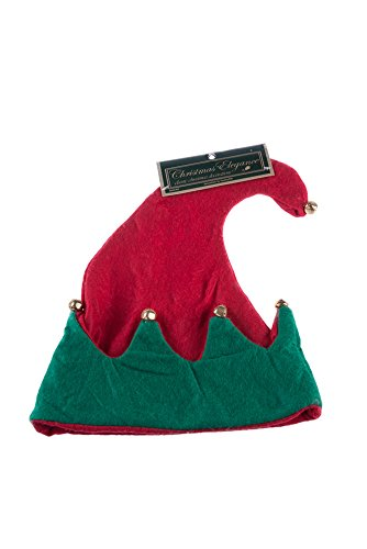 [Classic Red and Green Festive Christmas Elf Hat with Bells] (Elf Hats For Adults)