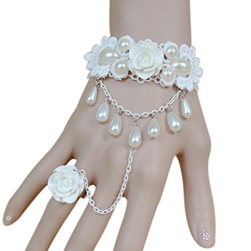 Time Pawnshop White Lace Rose Ring Elegant Adjustable Wrap Lady Bracelet