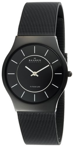 Skagen Mens Black Titanium Mesh Bracelet Watch #233LTMB