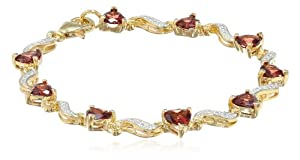 Yellow Gold Flashed Sterling Silver, Garnet, and Diamond Bracelet (0.02 Cttw, H I Color, I3 Clarity), 7""