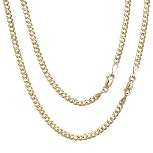 "18"" Curb Cuban Chain Necklace W/ White Pave - 10K Two-Tone Gold - 0.1 Inch (2.5Mm)"