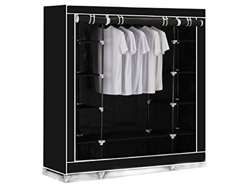 black-triple-canvas-clothes-wardrobe-cupboard-hanging-rail-storage-with-11-shelves-175-x-150-x-45cm-